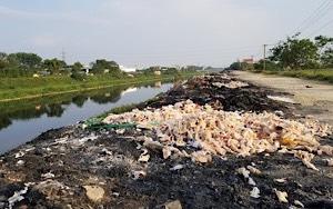 Vải vụn vứt bỏ bờ sông